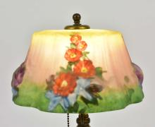 Lot 4: PAIRPOINT PUFFY REVERSE PAINTED HOLLYHOCK TABLE LAMP