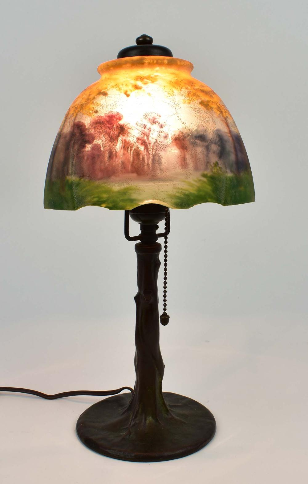 HANDEL REVERSE PAINTED GLASS BOUDOIR LAMP