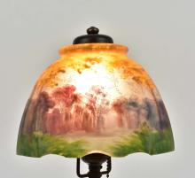 Lot 6: HANDEL REVERSE PAINTED GLASS BOUDOIR LAMP