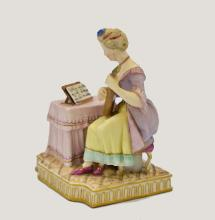 Lot 9: ROYAL VIENNA PORCELAIN GROUP OF A FEMALE MUSICAN