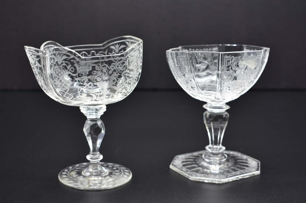 TWO LOBMEYR ARABESQUE SWEETMEAT STEM CUPS