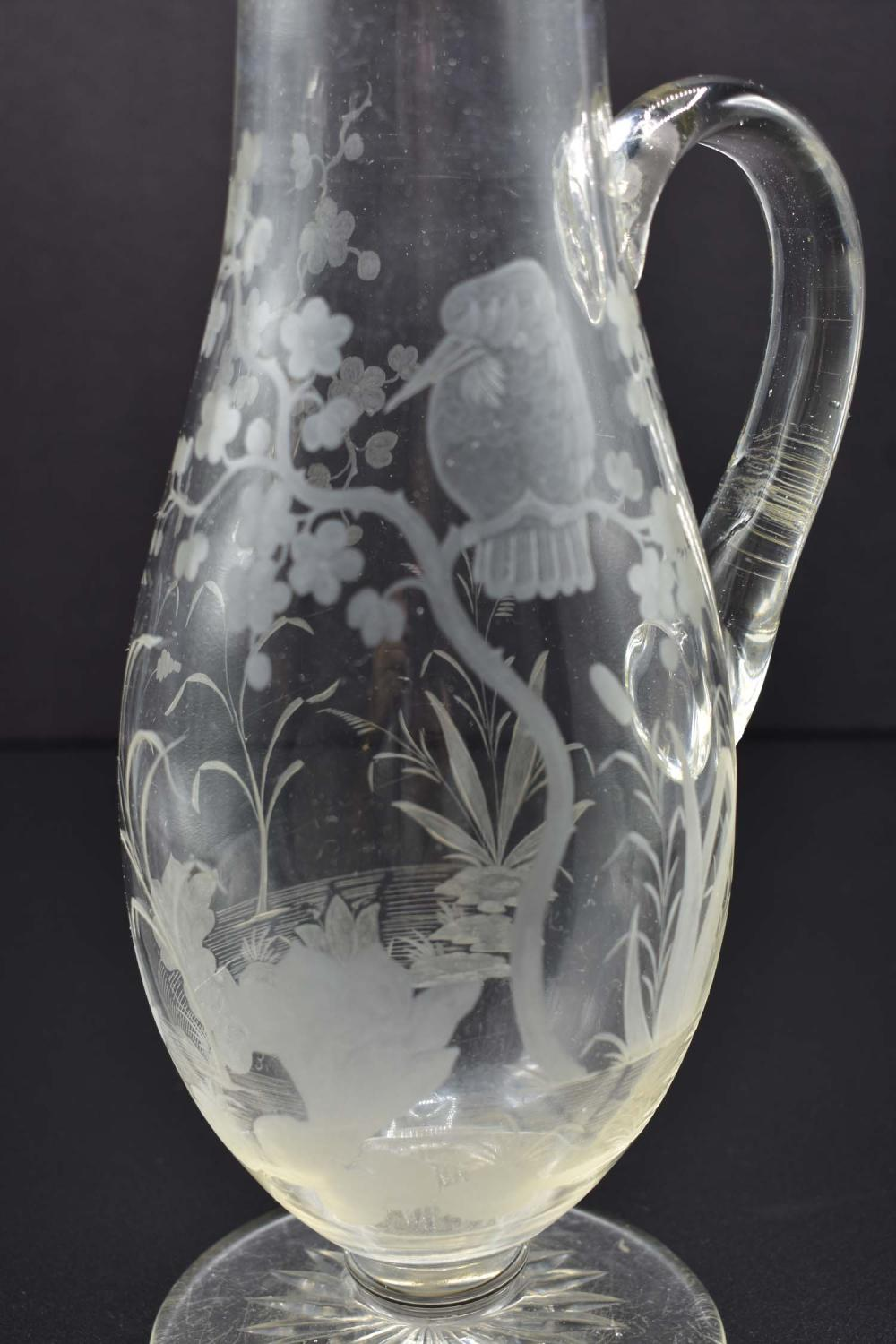 Lot 13: ENGLISH ETCHED COLORLESS GLASS EWER