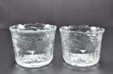 Lot 14: PAIR OF COLORLESS GLASS WINE RINSERS & A COVERED JAR