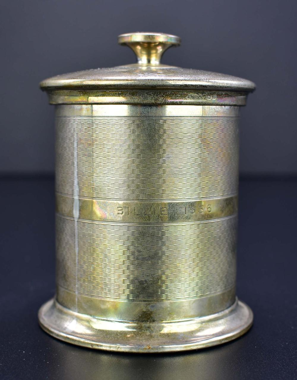 ENGLISH SILVER CLAD MAHOGANY TEA CADDY