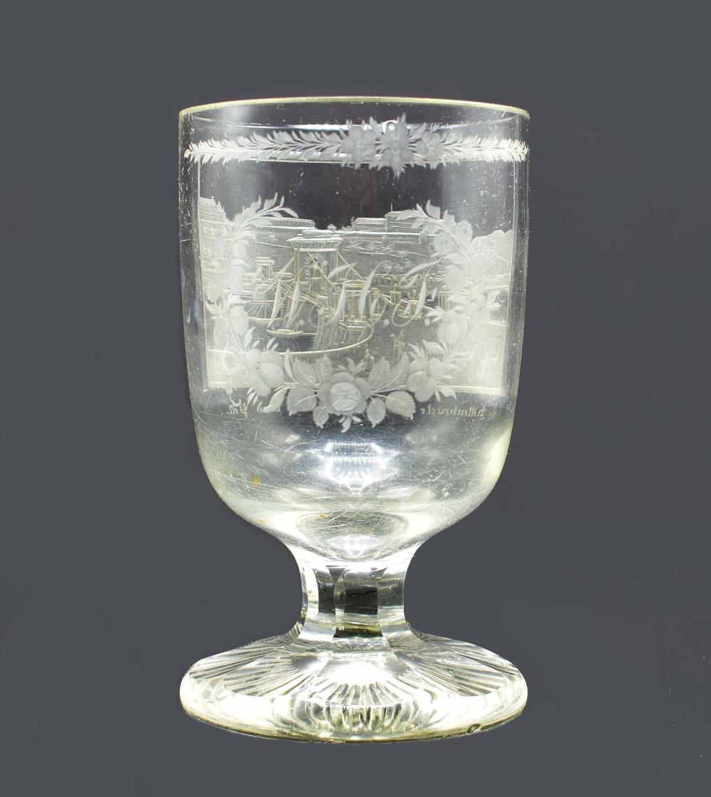 BOHEMIAN ENGRAVED COLORLESS GLASS GOBLET