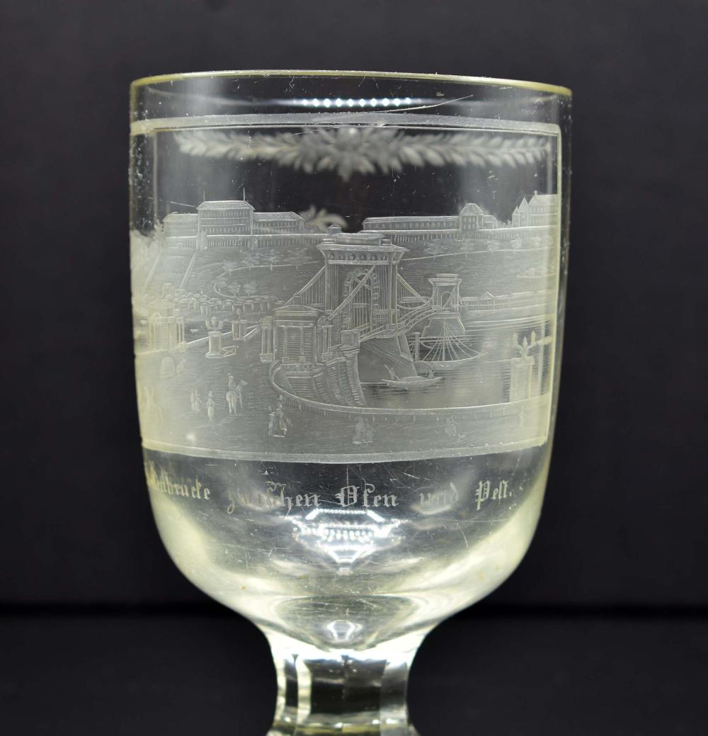 Lot 27: BOHEMIAN ENGRAVED COLORLESS GLASS GOBLET