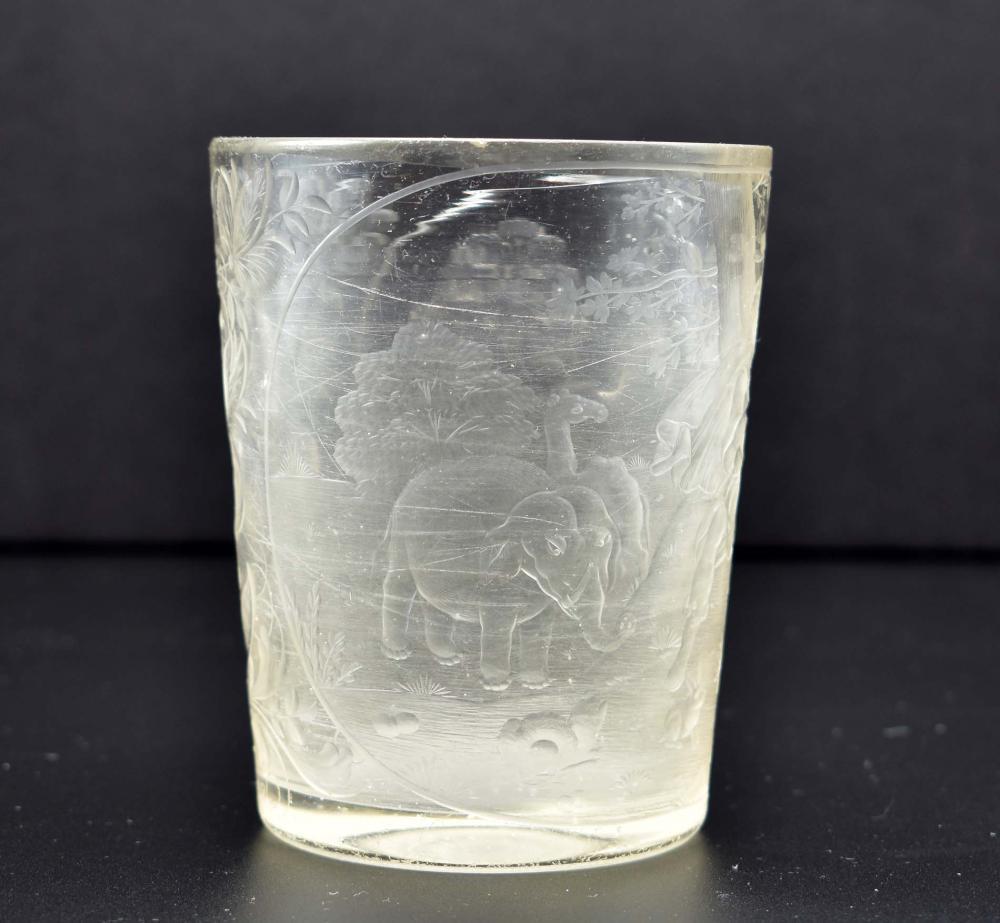 Lot 30: BOHEMIAN WHEEL-CUT ENGRAVED GLASS BEAKER