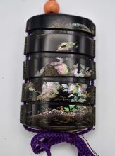 Lot 40: JAPANESE MOTHER-OF-PEARL INLAID BLACK LACQUER INRO