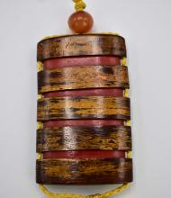 Lot 44: JAPANESE OVERALL GRAINED WOOD INRO