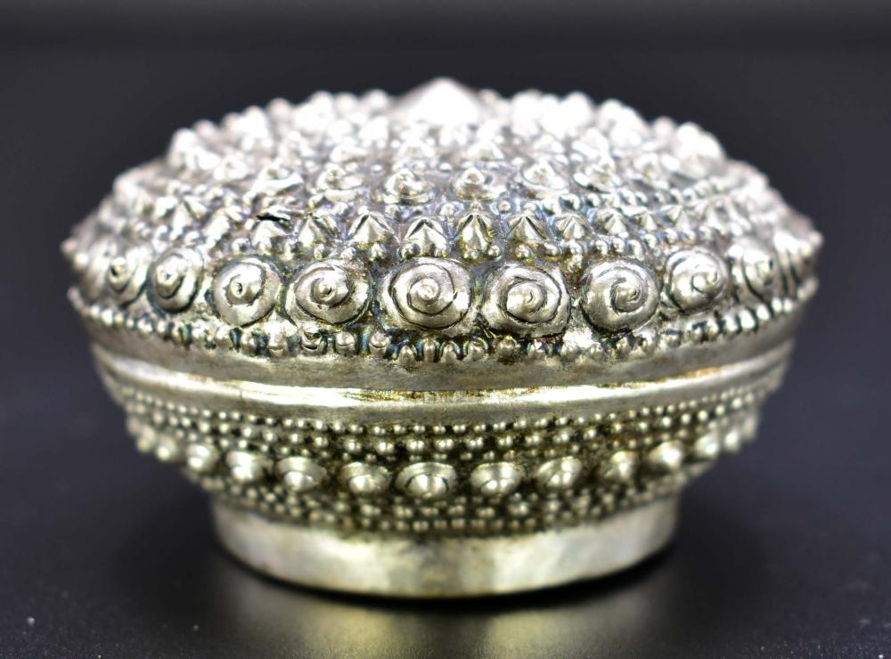 TIBETAN SILVER COVERED CIRCULAR BOX