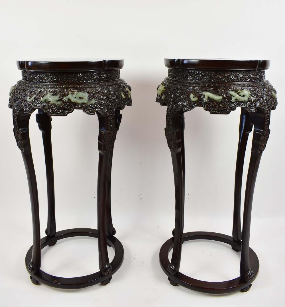 PAIR OF CHINESE JADE MOUNTED CARVED WOOD PEDESTAL STANDS