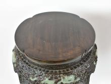 Lot 59: PAIR OF CHINESE JADE MOUNTED CARVED WOOD PEDESTAL STANDS