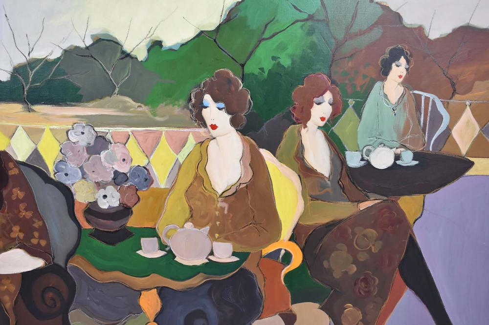 Lot 68: ITZCHAK TARKAY (b. 1935) CAFE LADIES PAINTING