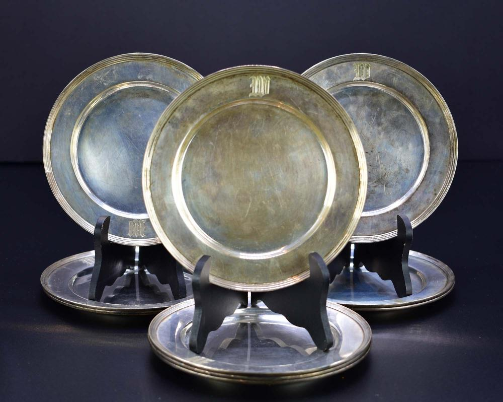 SET OF TEN AMERICAN STERLING SILVER BREAD PLATES