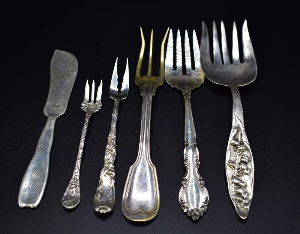 SIX STERLING SILVER SERVING PIECES