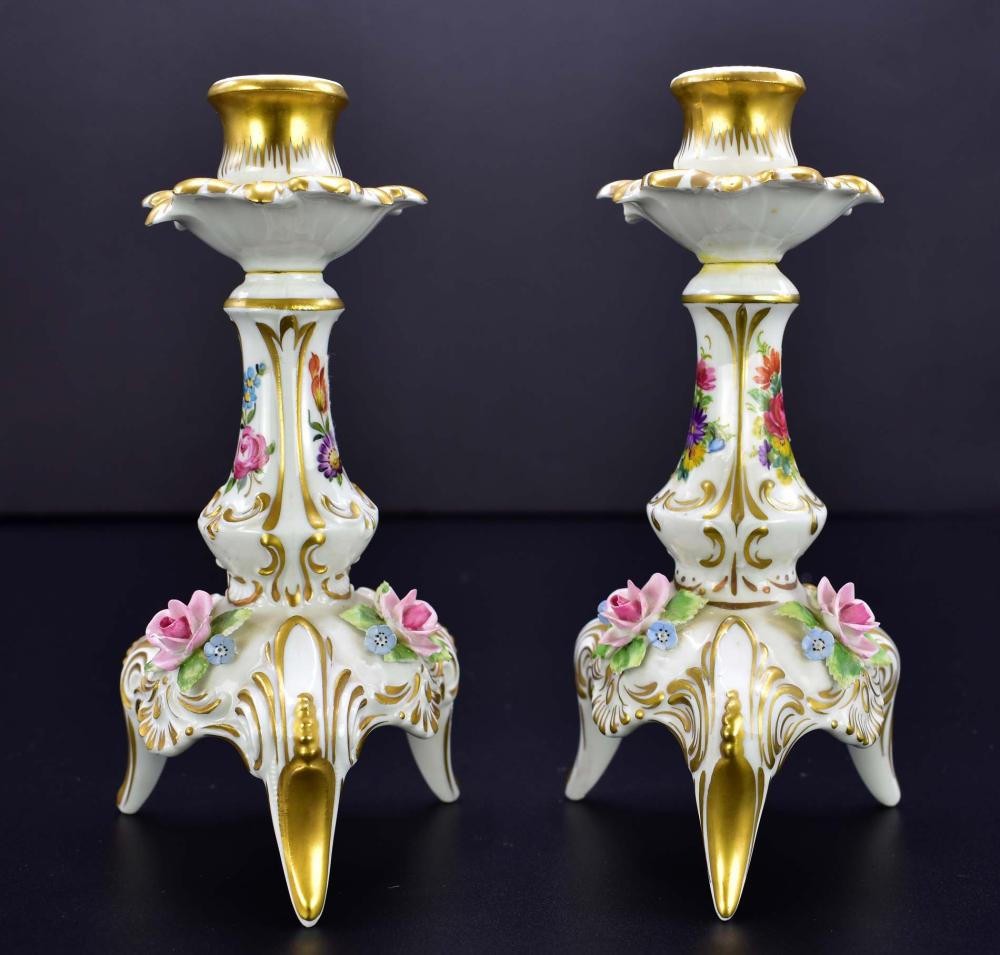 PAIR OF GERMAN PAINTED PORCELAIN CANDLESTICKS