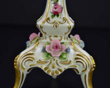 Lot 76: PAIR OF GERMAN PAINTED PORCELAIN CANDLESTICKS
