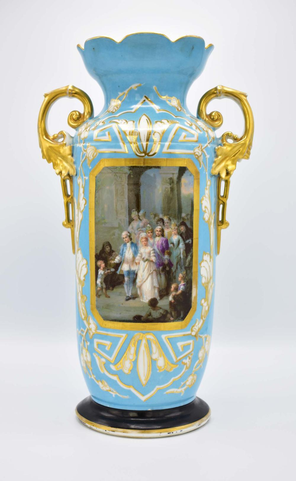 OLD PARIS PAINTED & PARCEL GILT PORCELAIN VASE
