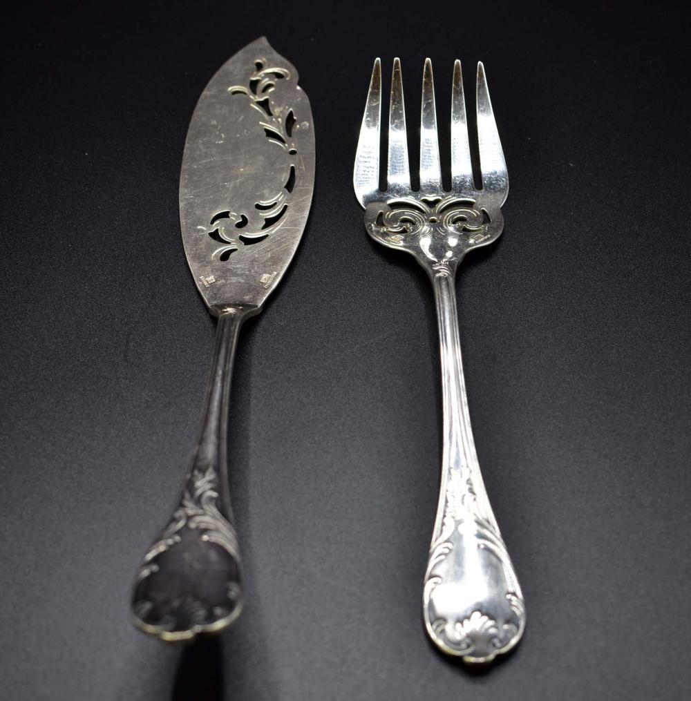 CHRISTOFLE SILVER FISH FORK AND SLICE