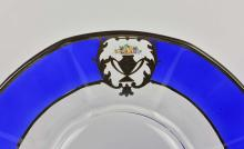 Lot 80: 12 CONTINENTAL ENAMELED SILVER GLASS DINNER PLATES