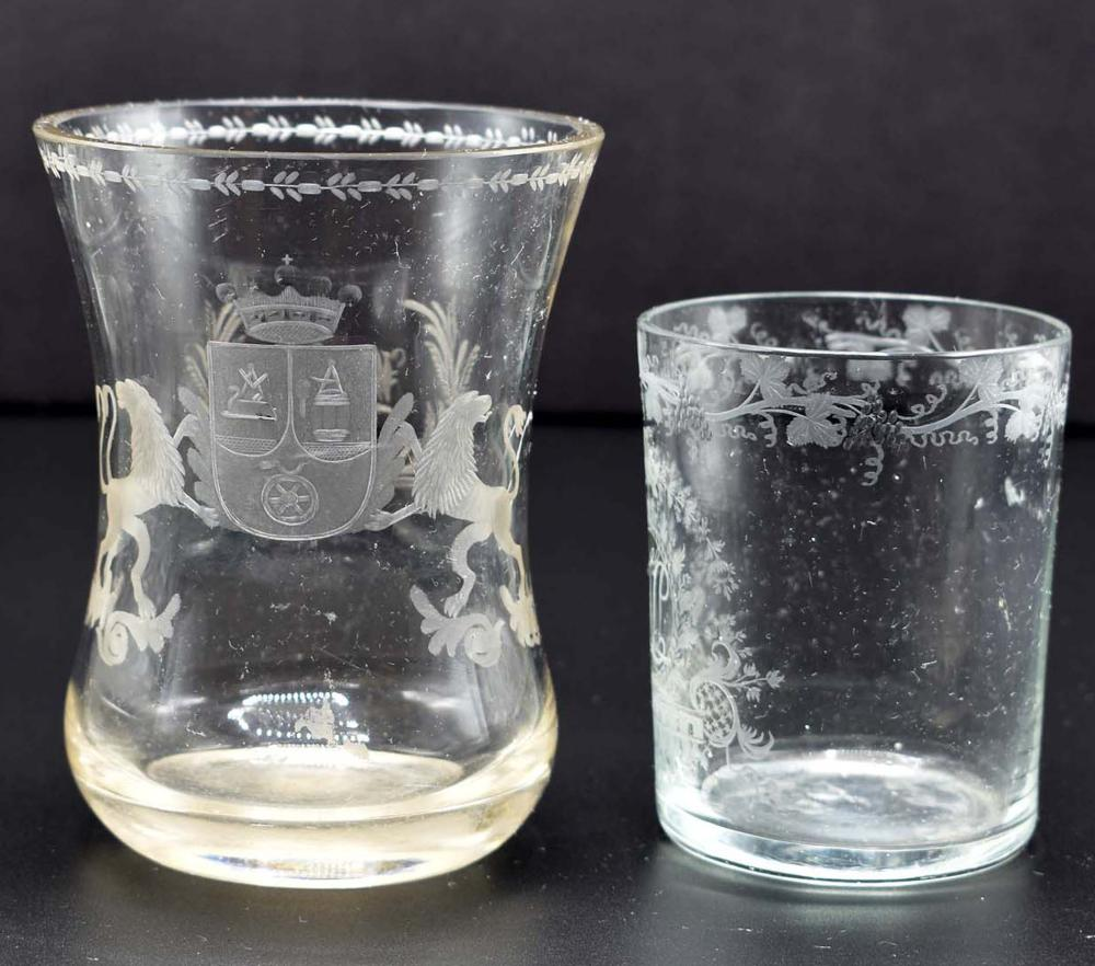 TWO GERMAN COLORLESS GLASS BEAKERS