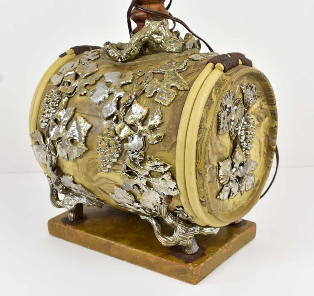 Lot 90: VICTORIAN PART SILVERED MARBLEIZED STONEWARE WINE CASK/LAMP