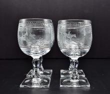 Lot 145: SET OF FOUR THOMAS WEBB EQUESTRIAN GLASS GOBLETS