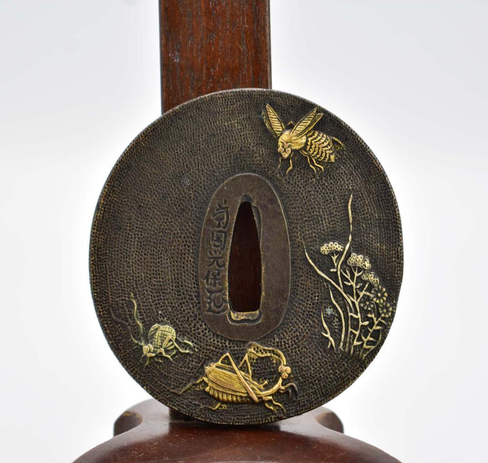 JAPANESE PARCEL GILT BRONZE TSUBA
