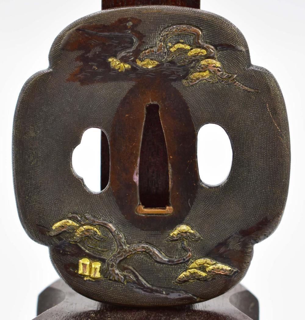 Lot 149: JAPANESE PARCEL GILT BRONZE TSUBA