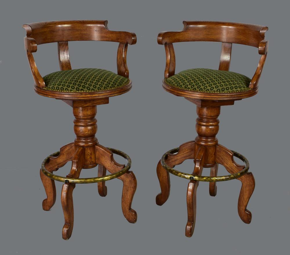 PAIR OF MAHOGANY CAPTAIN'S CHAIR-BACK STOOLS