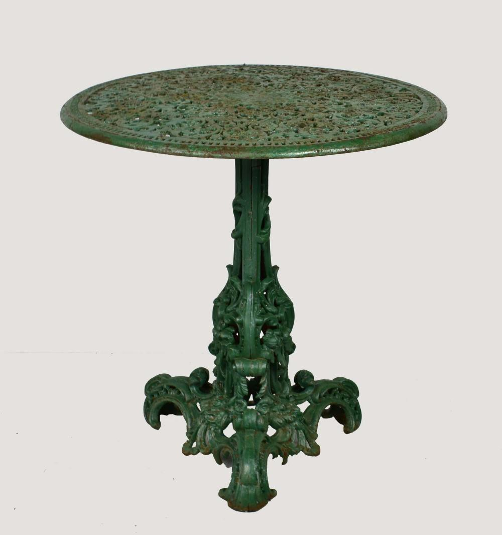 VICTORIAN GREEN PAINTED CAST IRON CIRCULAR TABLE
