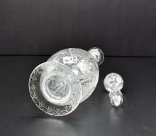 Lot 110: PR FINE ENGLISH ENGRAVED COLORLESS GLASS DECANTERS