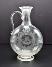 Lot 111: FINE IRISH ACID ETCHED ENGRAVED GLASS MOON FLASK