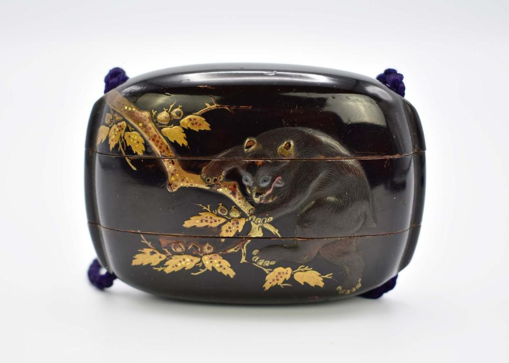 JAPANESE GILT AND BLACK LACQUER INRO