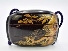 Lot 116: JAPANESE GILT AND BLACK LACQUER INRO