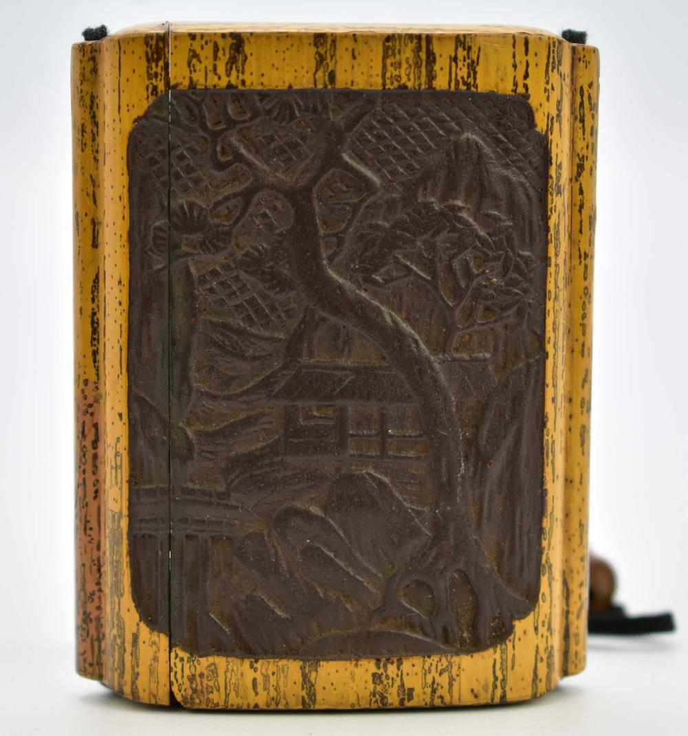 Lot 119: UNUSUAL JAPANESE CARVED MALACCA INRO