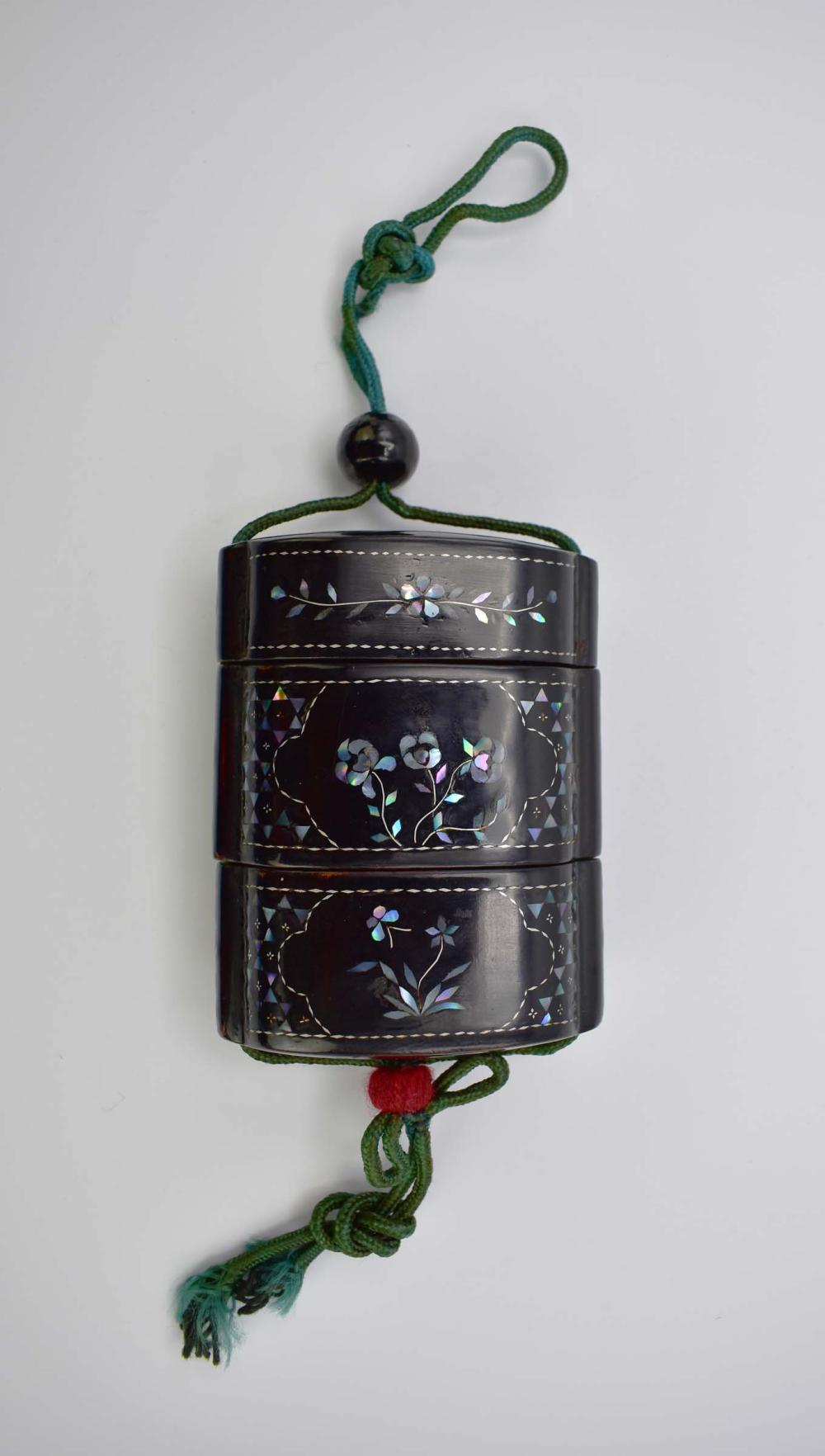 JAPANESE MOTHER-OF-PEARL INLAID BLACK LACQUER INRO