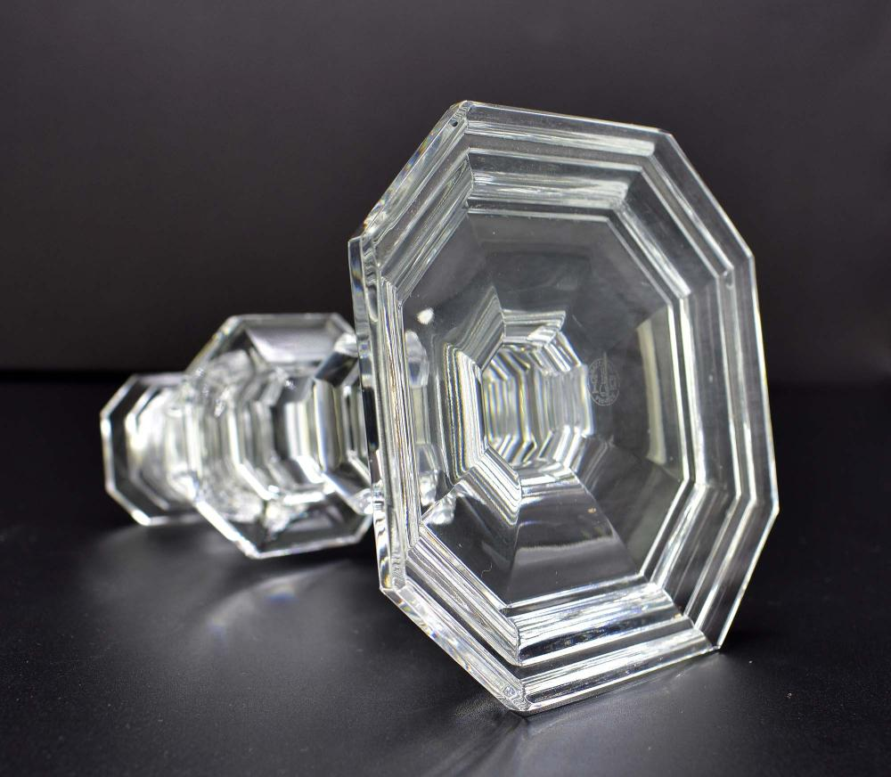 Lot 129: TWO PAIRS OF FRENCH CUT GLASS CANDLESTICKS