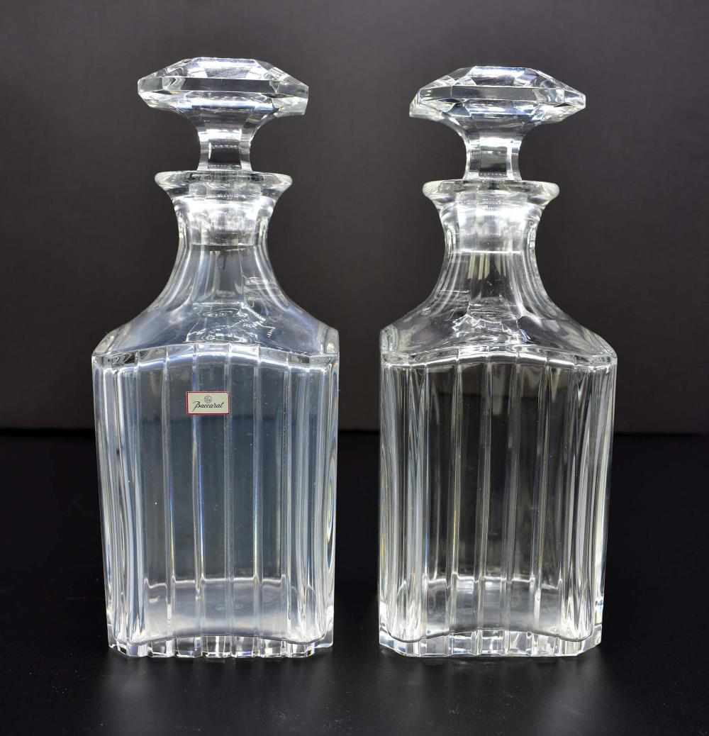 PR BACCARAT HARMONIE PATTERN COLORLESS GLASS DECANTERS