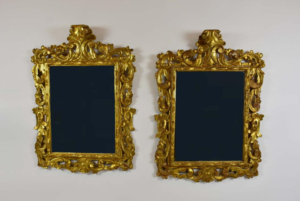 PAIR OF ITALIAN BAROQUE STYLE GILT WOOD MIRRORS