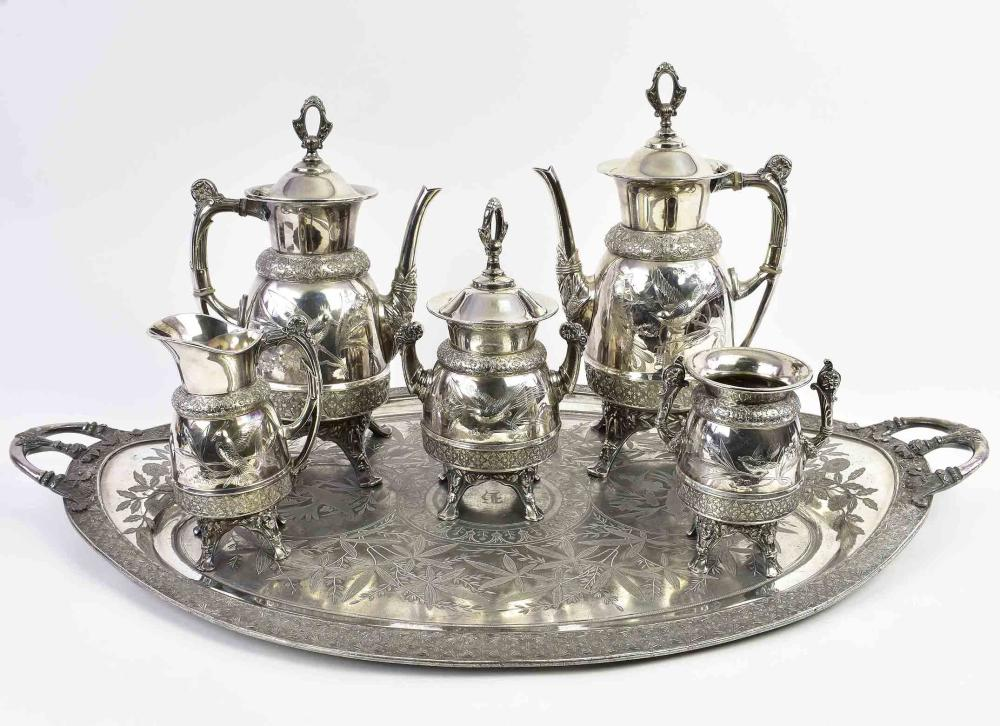 IMPRESSIVE AESTHETIC MOVEMENT SILVER PLATE TEA SERVICE