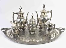 Lot 138: IMPRESSIVE AESTHETIC MOVEMENT SILVER PLATE TEA SERVICE