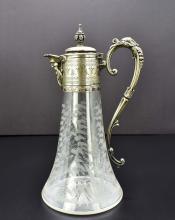 Lot 139: ENGLISH SILVER PLATE MOUNTED ETCHED GLASS CLARET JUG