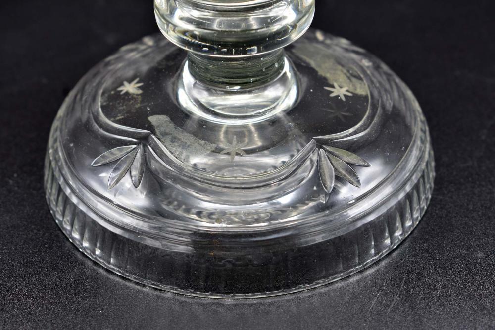 Lot 179: GEORGE III NEO-CLASSICAL ENGRAVED GLASS EWER