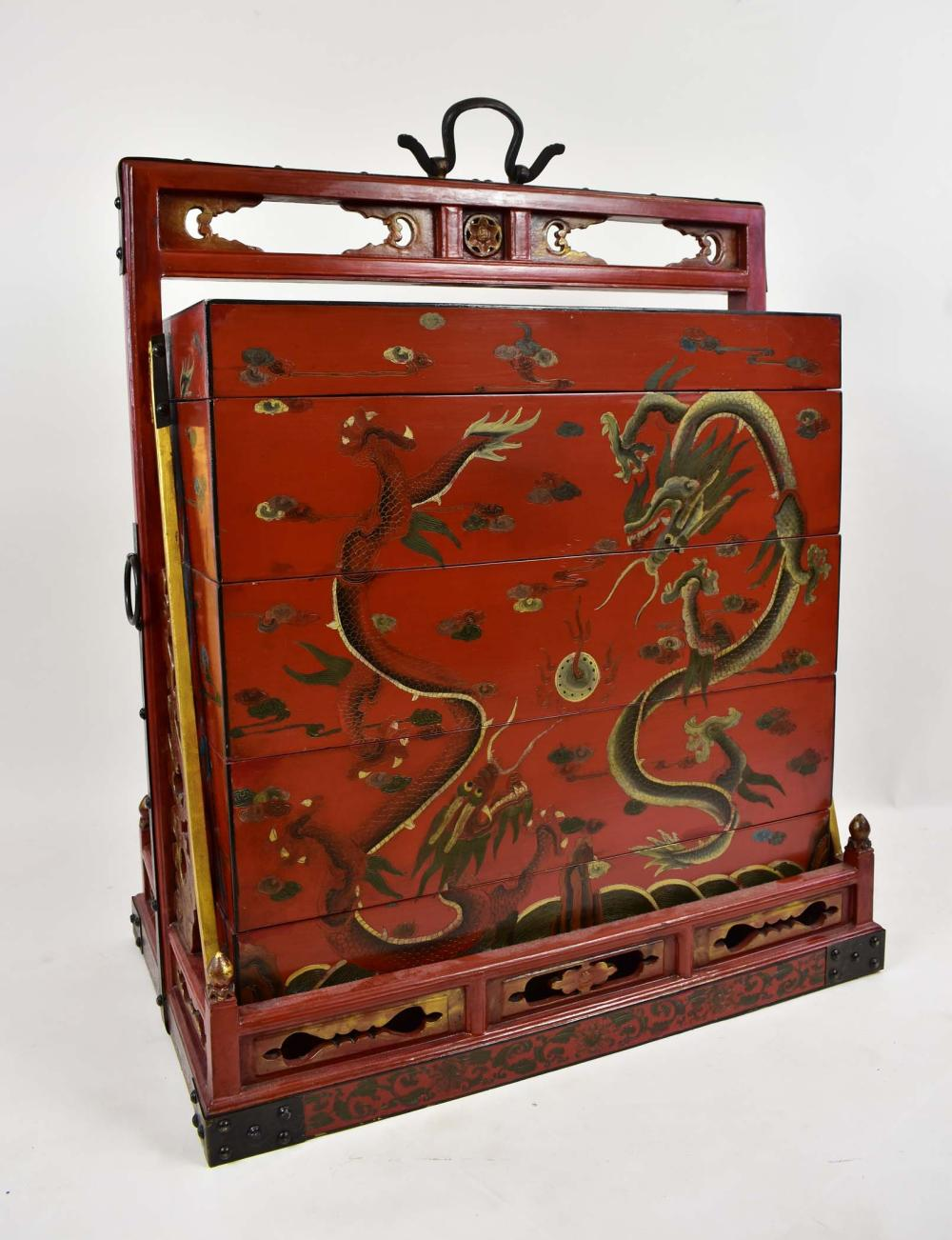 CHINESE LARGE RED LACQUER WEDDING CHEST AND STAND