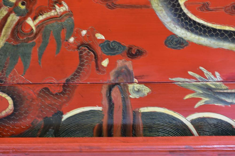 Lot 182: CHINESE LARGE RED LACQUER WEDDING CHEST AND STAND