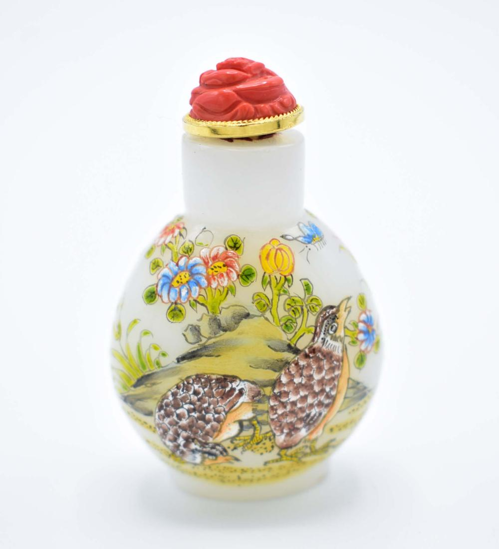 FINE CHINESE ENAMEL DECORATED WHITE GLASS SNUFF BOTTLE