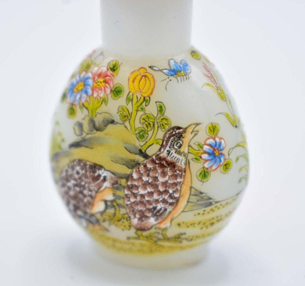 Lot 169: FINE CHINESE ENAMEL DECORATED WHITE GLASS SNUFF BOTTLE