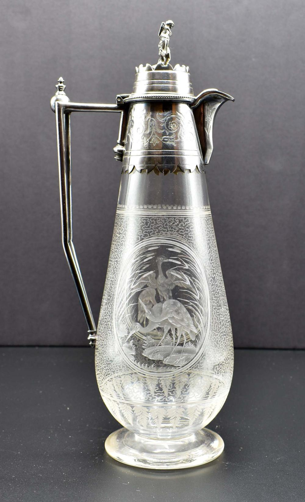 AESTHETIC MOVEMENT SILVER PLATE MOUNTED GLASS DECANTER