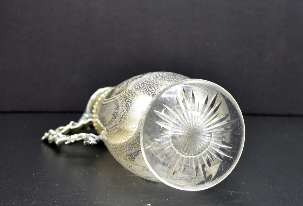 Lot 175: VICTORIAN SILVER PLATE MOUNTED GLASS DECANTER